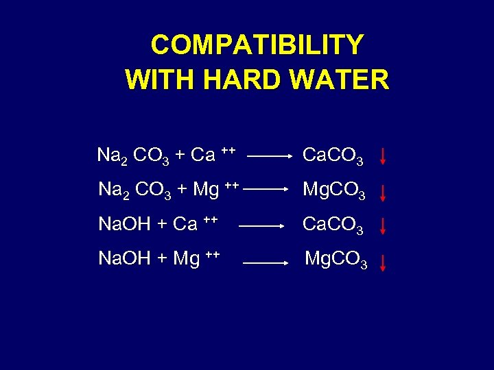 COMPATIBILITY WITH HARD WATER Na 2 CO 3 + Ca ++ Ca. CO 3