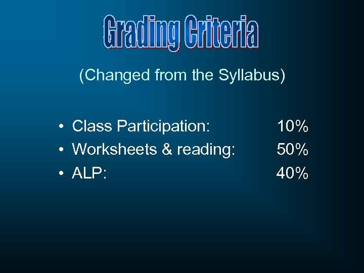 (Changed from the Syllabus) • Class Participation: • Worksheets & reading: • ALP: 10%
