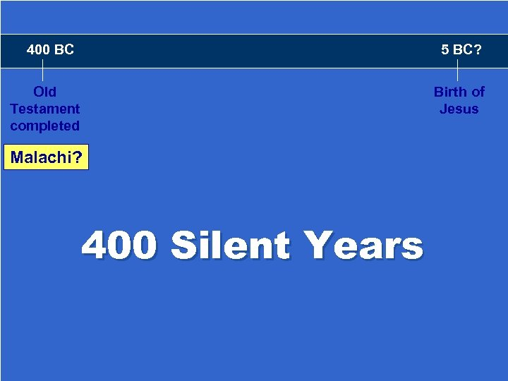 400 BC 5 BC? Old Testament completed Birth of Jesus Malachi? Amos 400 Silent