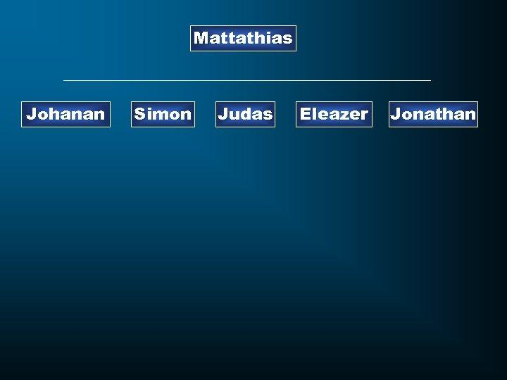 Mattathias Johanan Simon Judas Eleazer Jonathan