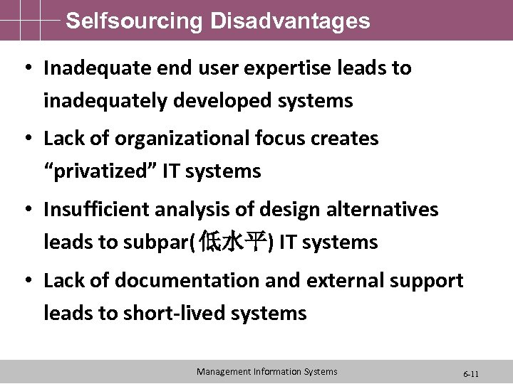Selfsourcing Disadvantages • Inadequate end user expertise leads to inadequately developed systems • Lack