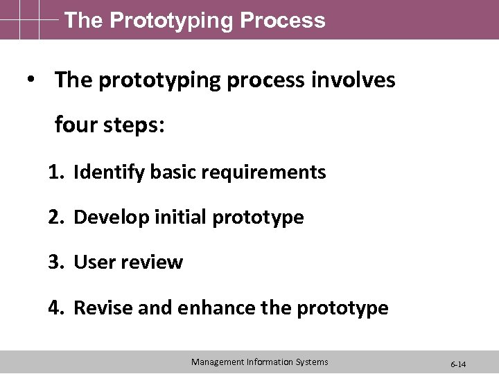 The Prototyping Process • The prototyping process involves four steps: 1. Identify basic requirements