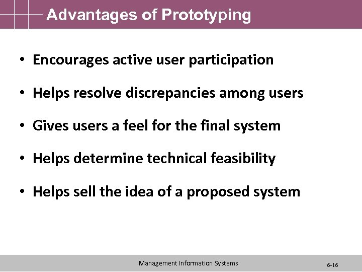Advantages of Prototyping • Encourages active user participation • Helps resolve discrepancies among users