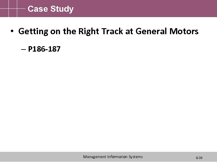 Case Study • Getting on the Right Track at General Motors – P 186
