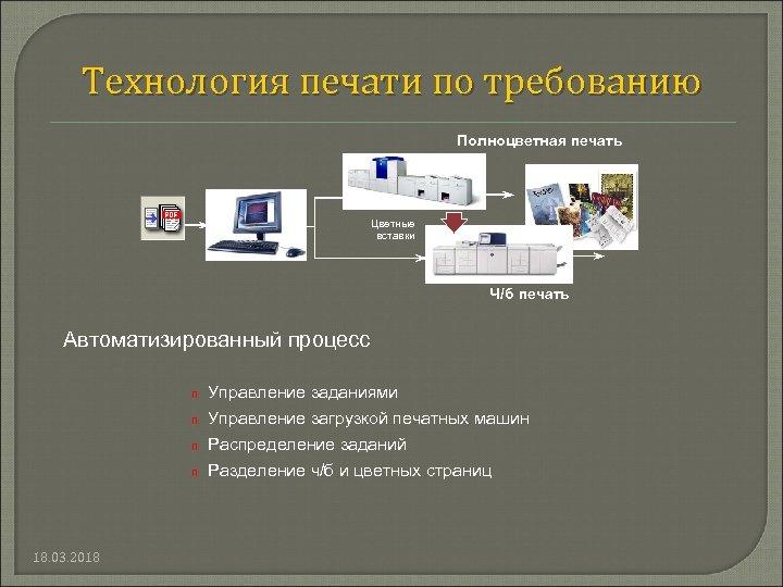 Технология печати по требованию Полноцветная печать Цветные вставки Ч/б печать Автоматизированный процесс n Управление