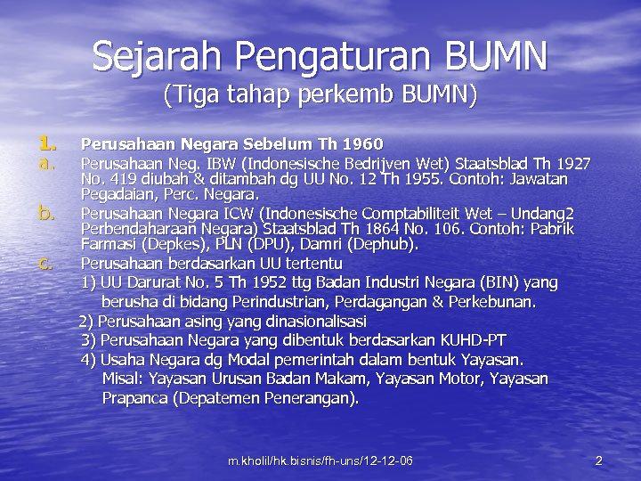 Sejarah Pengaturan BUMN (Tiga tahap perkemb BUMN) 1. a. b. c. Perusahaan Negara Sebelum