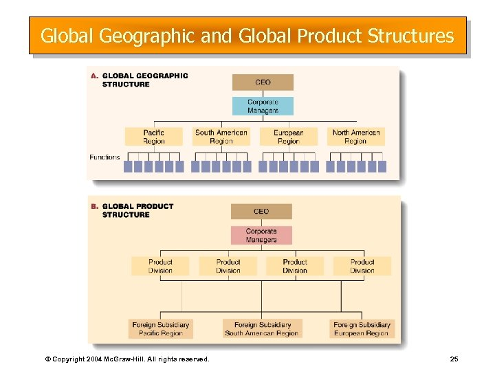 Global Geographic and Global Product Structures © Copyright 2004 Mc. Graw-Hill. All rights reserved.