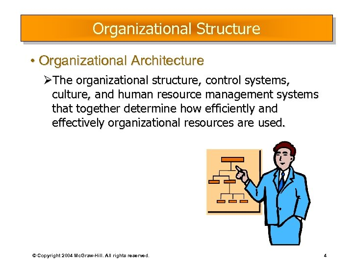 Organizational Structure • Organizational Architecture ØThe organizational structure, control systems, culture, and human resource