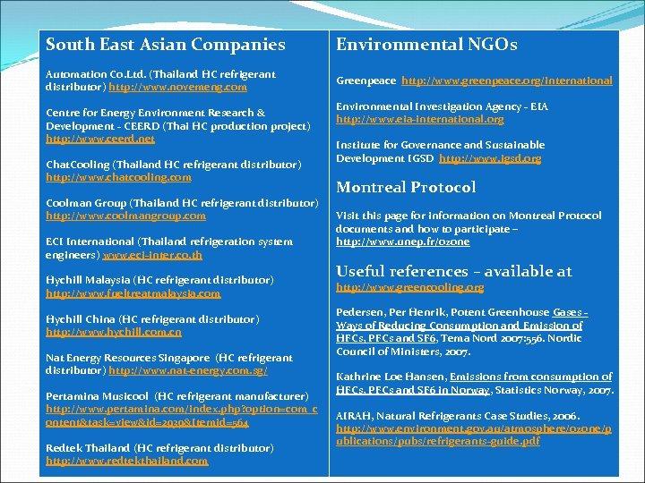 South East Asian Companies Automation Co. Ltd. (Thailand HC refrigerant distributor) http: //www. novemeng.