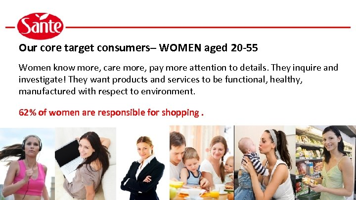 Our core target consumers– WOMEN aged 20 -55 Women know more, care more, pay