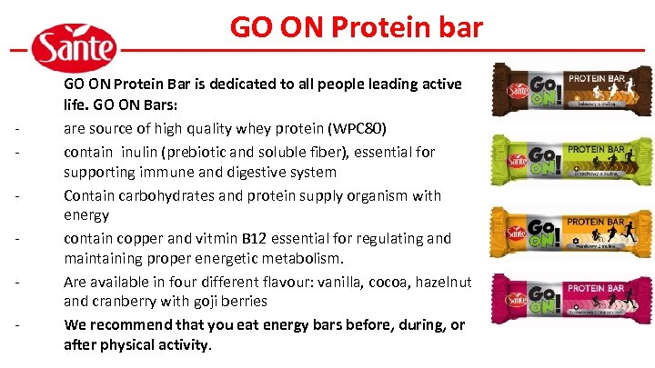 GO ON Protein bar - GO ON Protein Bar is dedicated to all people