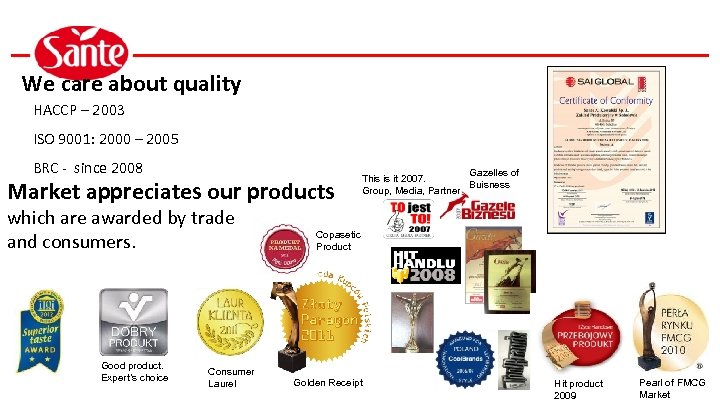 We care about quality HACCP – 2003 ISO 9001: 2000 – 2005 BRC -
