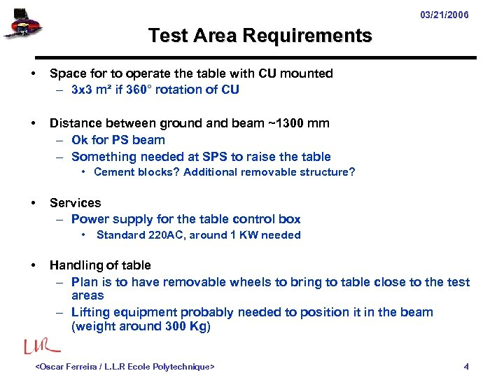 03/21/2006 Test Area Requirements • Space for to operate the table with CU mounted