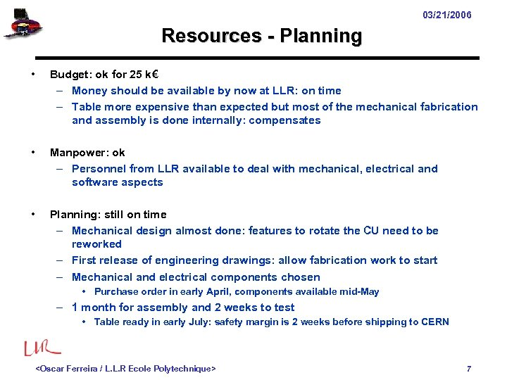 03/21/2006 Resources - Planning • Budget: ok for 25 k€ – Money should be
