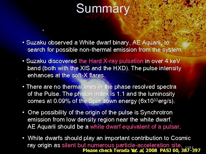 The X-ray Universe 2008 Summary 27— 30 May 2008, @Granada, Spain • Suzaku observed