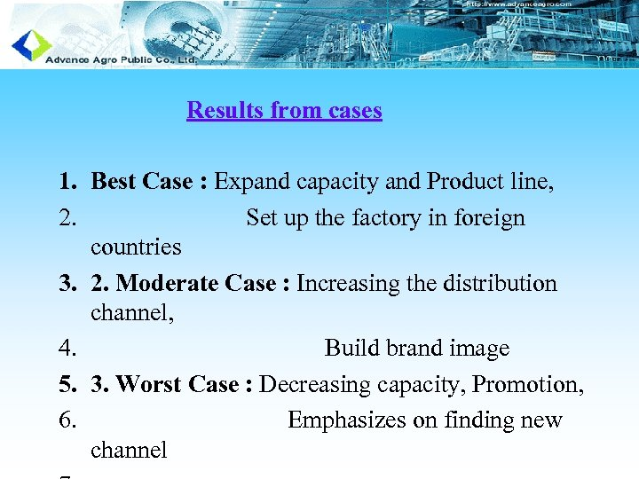 Results from cases 1. Best Case : Expand capacity and Product line, 2. Set