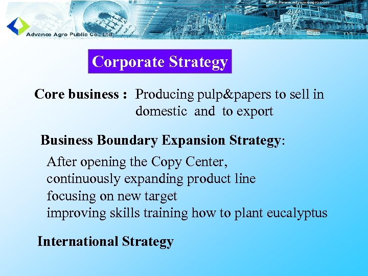 Corporate Strategy Core business : Producing pulp&papers to sell in domestic and to export