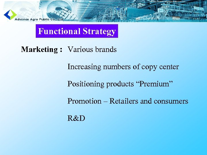 """Functional Strategy Marketing : Various brands Increasing numbers of copy center Positioning products """"Premium"""""""
