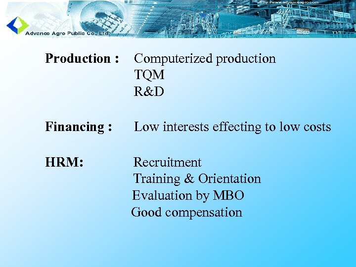 Production : Computerized production TQM R&D Financing : Low interests effecting to low costs