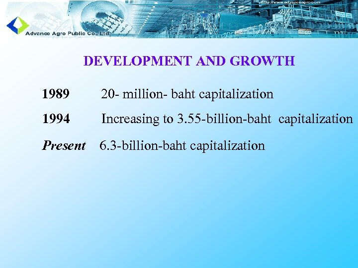 DEVELOPMENT AND GROWTH 1989 20 - million- baht capitalization 1994 Increasing to 3. 55