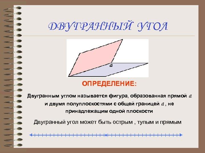 ДВУГРАННЫЙ УГОЛ ОПРЕДЕЛЕНИЕ: Двугранным углом называется фигура, образованная прямой а и двумя полуплоскостями с