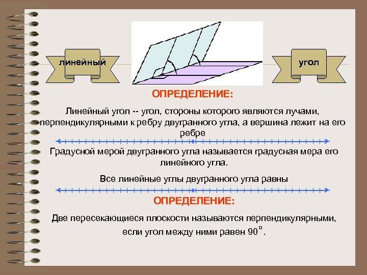 линейный угол ОПРЕДЕЛЕНИЕ: Линейный угол -- угол, стороны которого являются лучами, перпендикулярными к ребру