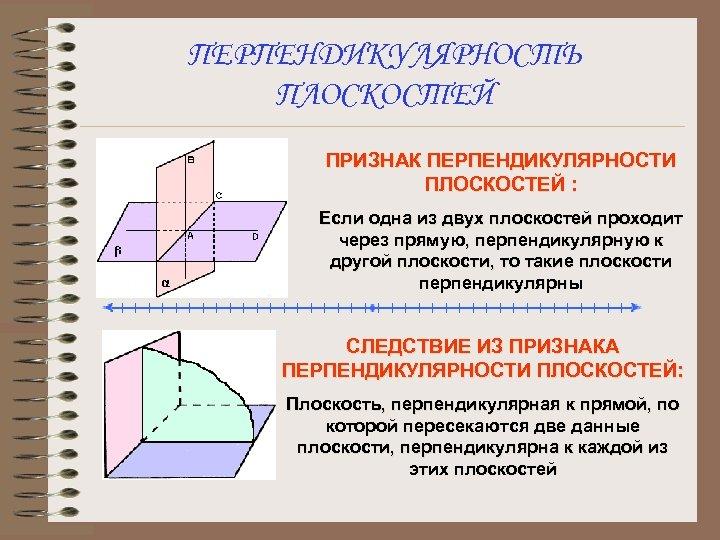 ПЕРПЕНДИКУЛЯРНОСТЬ ПЛОСКОСТЕЙ ПРИЗНАК ПЕРПЕНДИКУЛЯРНОСТИ ПЛОСКОСТЕЙ : Если одна из двух плоскостей проходит через прямую,