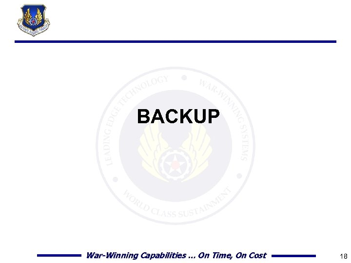 BACKUP War-Winning Capabilities … On Time, On Cost 18