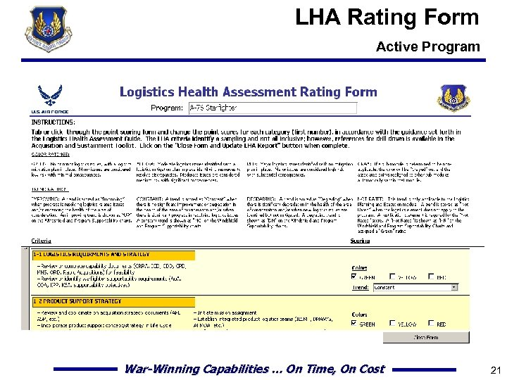 LHA Rating Form Active Program War-Winning Capabilities … On Time, On Cost 21