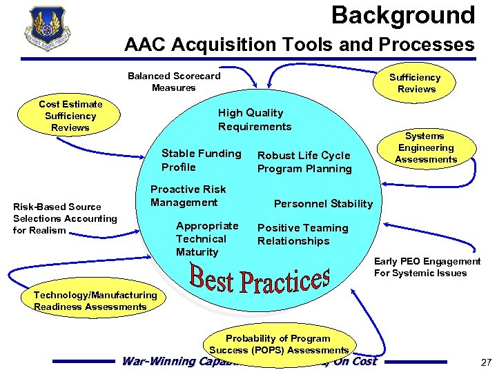 Background AAC Acquisition Tools and Processes Balanced Scorecard Measures Cost Estimate Sufficiency Reviews High