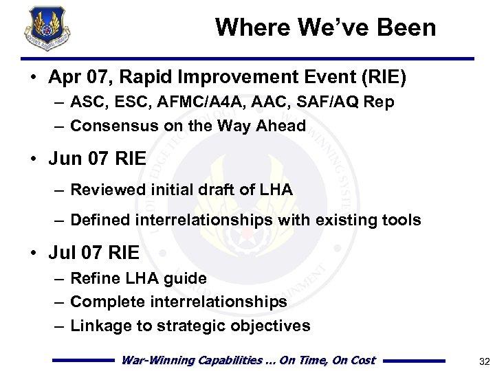 Where We've Been • Apr 07, Rapid Improvement Event (RIE) – ASC, ESC, AFMC/A