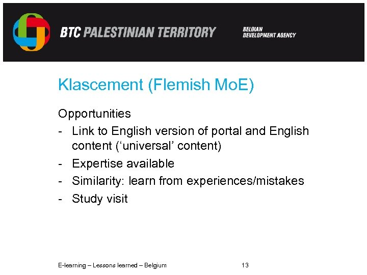 Klascement (Flemish Mo. E) Opportunities - Link to English version of portal and English