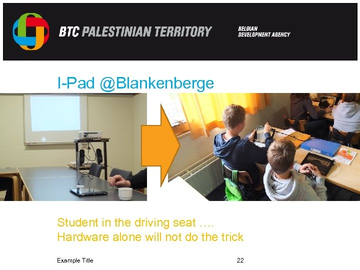 I-Pad @Blankenberge Student in the driving seat …. Hardware alone will not do the