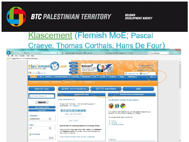 Klascement (Flemish Mo. E; Pascal Craeye, Thomas Corthals, Hans De Four) ) E-learning –