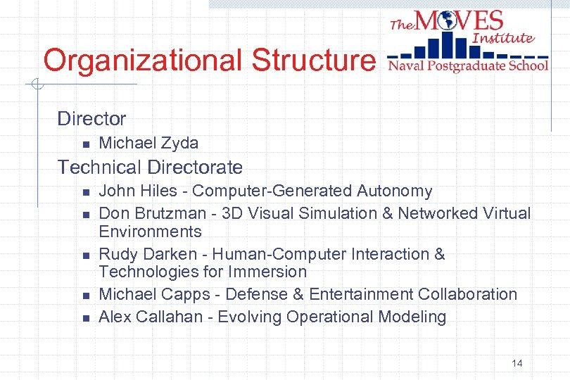 Organizational Structure Director n Michael Zyda Technical Directorate n n n John Hiles -