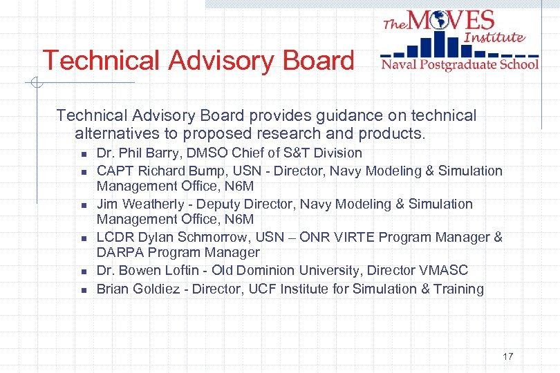 Technical Advisory Board provides guidance on technical alternatives to proposed research and products. n
