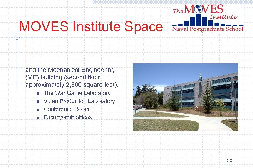 MOVES Institute Space and the Mechanical Engineering (ME) building (second floor, approximately 2, 300