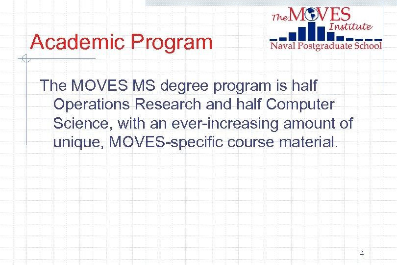 Academic Program The MOVES MS degree program is half Operations Research and half Computer