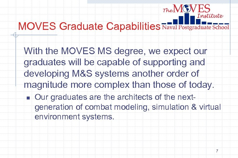 MOVES Graduate Capabilities With the MOVES MS degree, we expect our graduates will be