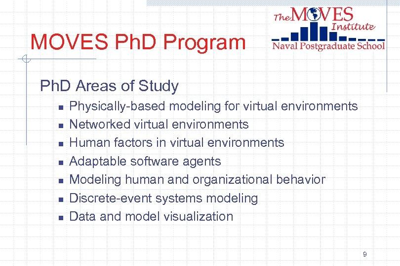 MOVES Ph. D Program Ph. D Areas of Study n n n n Physically-based