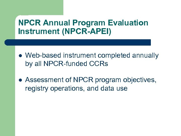 NPCR Annual Program Evaluation Instrument (NPCR-APEI) l Web-based instrument completed annually by all NPCR-funded