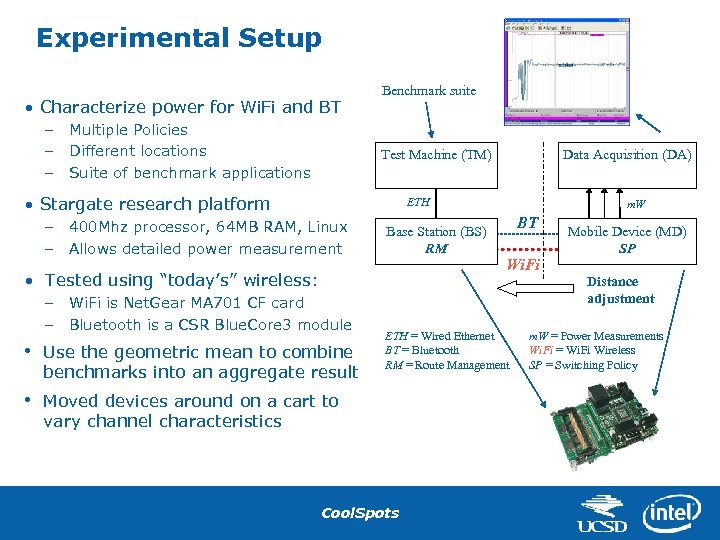 Experimental Setup • Characterize power for Wi. Fi and BT – – – Multiple