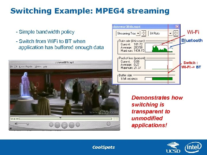 Switching Example: MPEG 4 streaming - Simple bandwidth policy Wi-Fi - Switch from Wi.