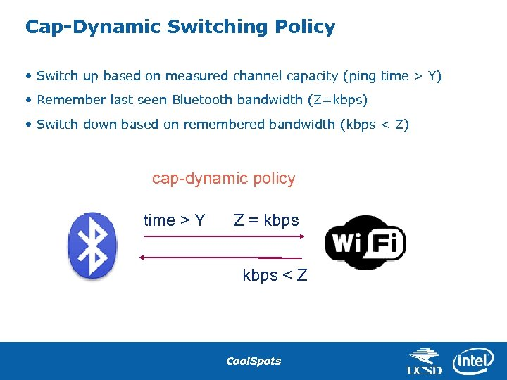 Cap-Dynamic Switching Policy • Switch up based on measured channel capacity (ping time >