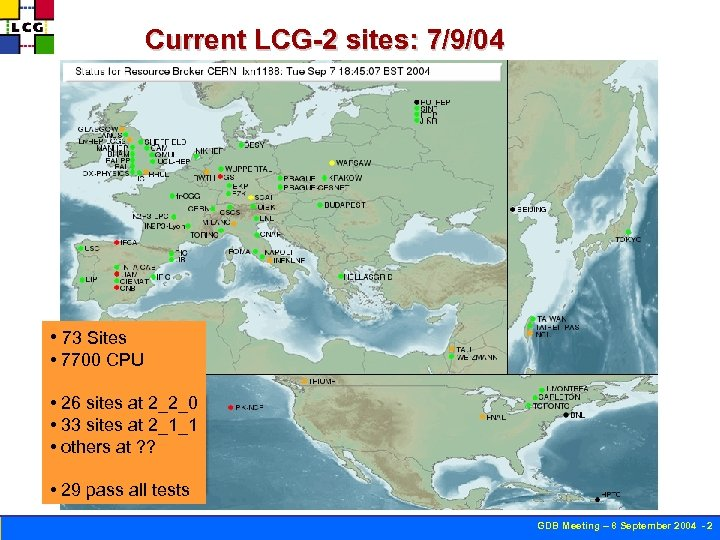 Current LCG-2 sites: 7/9/04 • 73 Sites • 7700 CPU • 26 sites at