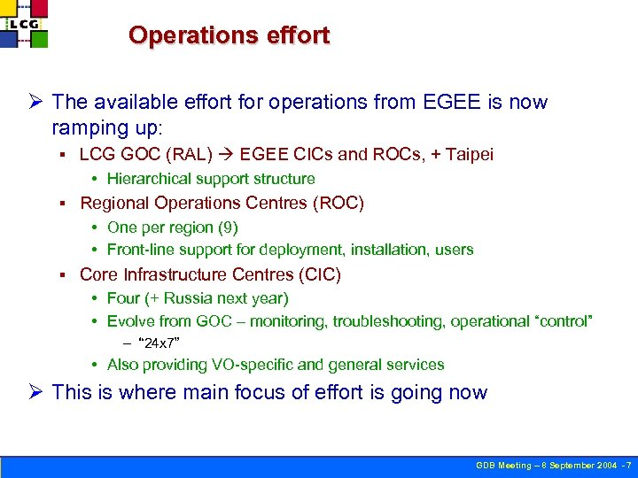 Operations effort Ø The available effort for operations from EGEE is now ramping up: