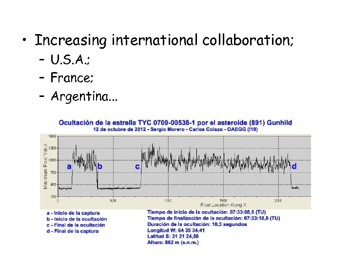 • Increasing international collaboration; – U. S. A. ; – France; – Argentina.