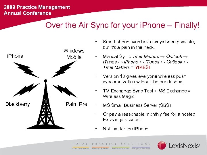 2009 Practice Management Annual Conference Over the Air Sync for your i. Phone –