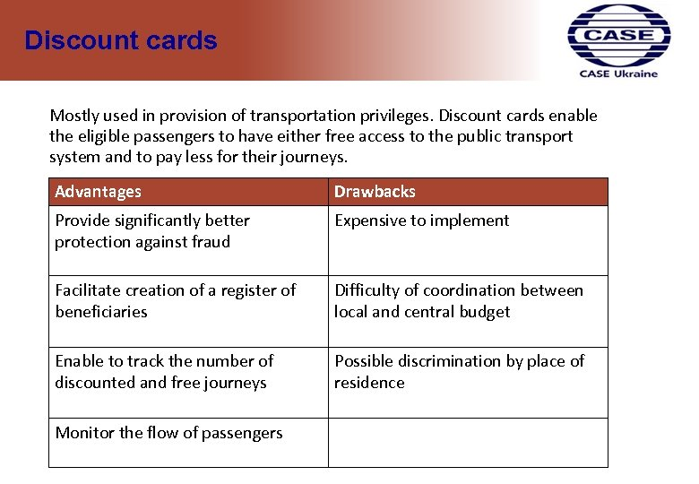 Discount cards Mostly used in provision of transportation privileges. Discount cards enable the eligible