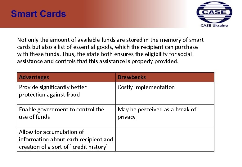 Smart Cards Not only the amount of available funds are stored in the memory